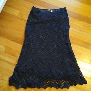Black crochet skirt